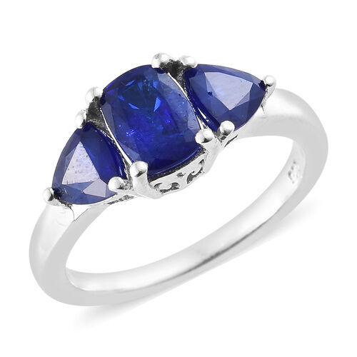 2 Carat Blue Spinel Trilogy Ring in Platinum Plated Sterling Silver