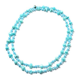 Blue Agate and Simulated Sapphire Beaded Necklace 62 Inch