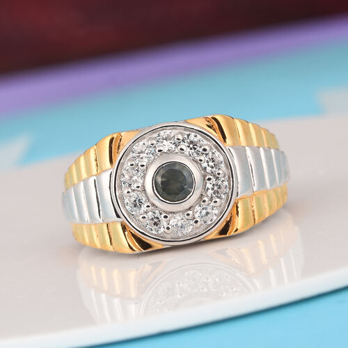 Narsipatnam Alexandrite and Natural Cambodian Zircon Ring in Platinum and Yellow Gold Overlay Sterling Silver 1.00 Ct, Silver wt 7.00 Gms