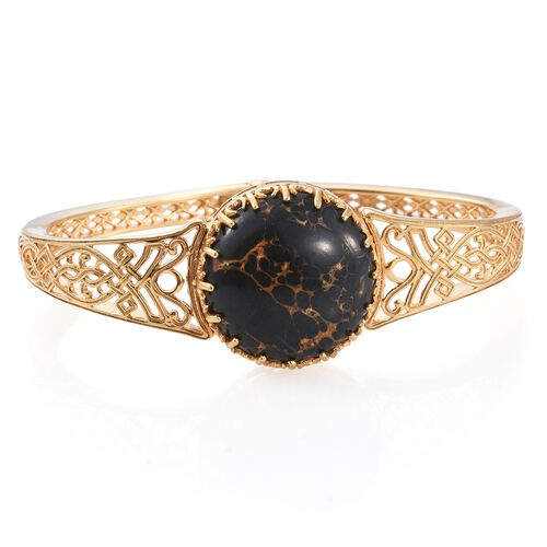 Designer Inspired-Arizona Mojave Black Turquoise (Rnd) Bangle (Size 7.5) in 14K Gold Overlay Sterling Silver 30.000 Ct.Silver WT 28.00 Gms