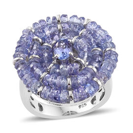 Tanzanite (Ovl) Cluster Ring in Platinum Overlay Sterling Silver  10.400 Ct, Silver wt 6.30 Gms