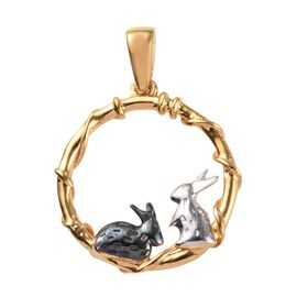 Platinum, Yellow Gold and Black Overlay Sterling Silver Bunny Pendant