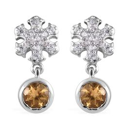 Citrine (Rnd), Natural Cambodian Zircon Snowflake Earrings (with Push Back) in Platinum Overlay Ster