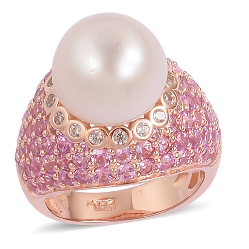 Designer Inspired- South Sea White Pearl (11mm- 12mm), Natural White Cambodian Zircon and Pink Sapphire (4.00 Cts) Ring in 14K Rose Gold Overlay Sterling Silver, Silver wt 7.11 Gms.