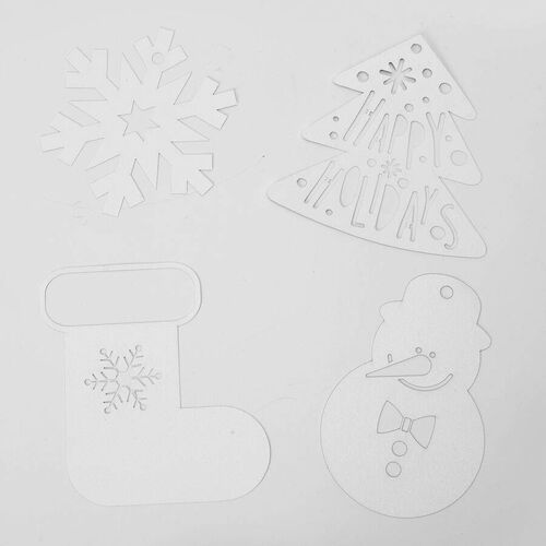 24 Piece Set of Brown Christmas Craft Bags with Snowflake Print Red Ribbons and Christmas Themed White Cards (6 Pcs each - Boots, Tree, Snowflake and Snowman)