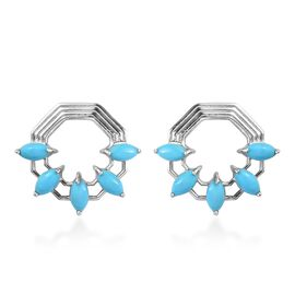 Arizona Sleeping Beauty Turquoise Earrings (with Push Back) in Platinum Overlay Sterling Silver 3.00