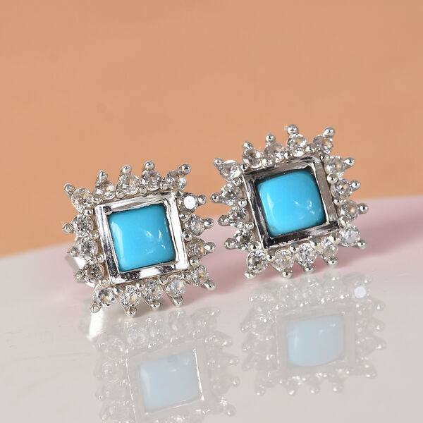 Arizona Sleeping Beauty Turquoise, Natural Cambodian Zircon Stud Earrings (with Push Back) in Platinum Overlay Sterling Silver 1.25 Ct.