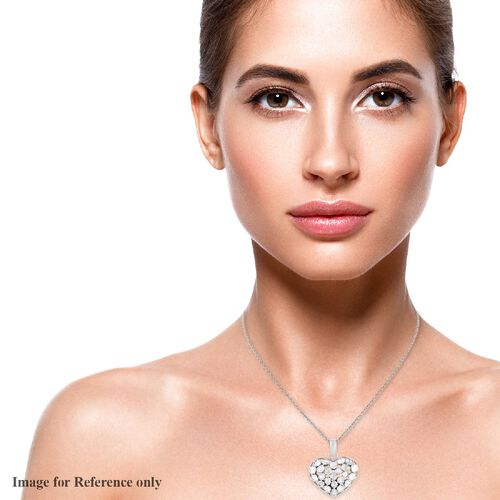 Polki Diamond  Pendant in Platinum Overlay Sterling Silver 1.00 ct,  Sliver Wt. 5.11 Gms  1.000  Ct.