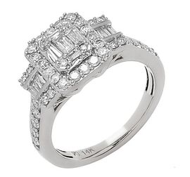 NY Close Out Deal- 14K White Gold Natural Diamond  (I1-I2/G-H) Cluster Ring 1.06 Ct