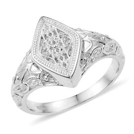 Rhodium Plated Sterling Silver Filigree Ring, Silver wt 5.25 Gms.