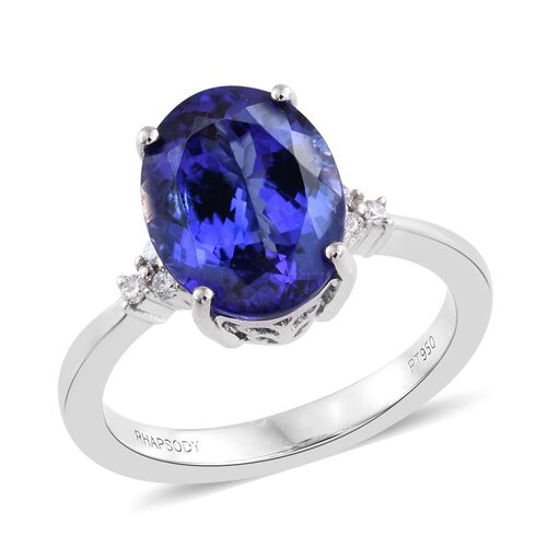 RHAPSODY 950 Platinum 4.55 Ct AAAA Tanzanite Ring with Diamond VS E-F