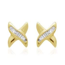 9K Yellow Gold 0.10 Ct. Diamond Stud Earrings (with Push Back) SGL Certified (I3/G-H)