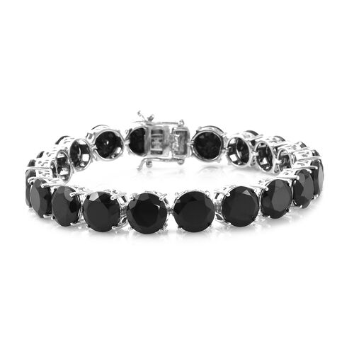 Red Carpet Collection--Boi Ploi Black Spinel (Rnd 9mm) Bracelet (Size 7.5) in Platinum Overlay Sterling Silver 67.750 Ct, Silver wt 14.20 Gms.