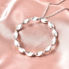 RACHEL GALLEY Sandblast Collection - Rhodium Overlay Sterling Silver Twist Circle Design Pendant with Chain (Size 30), Silver wt. 14.06 Gms