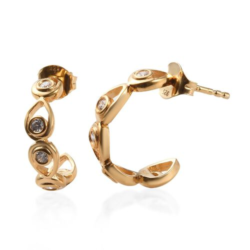 J Francis - 14K Gold Overlay Sterling Silver (Rnd) J-Hoop Earrings (with Push Back) Made with SWAROV