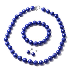 Shell Pearl Necklace (Size 20) Stretchable Bracelet  and Stud Earrings in Blue Colour