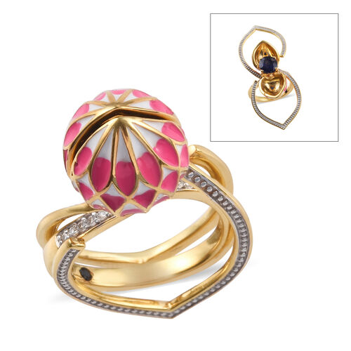 GP 2.65 Ct Masoala Sapphire and Multi Gemstone Solitaire Floral Ring in Gold Plated Sterling Silver