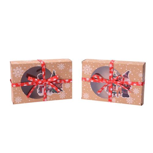 12 Piece Set Christmas Gift Box- Santa and Snowmen Pattern with Bowknot Ribbon (Size 18x12x5cm)