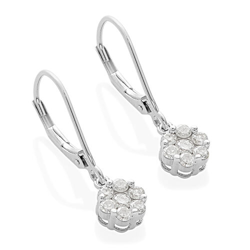 9K White Gold SGL Certified Diamond (Rnd) (I3/G-H) Earrings (with Lever Back) 0.500 Ct.