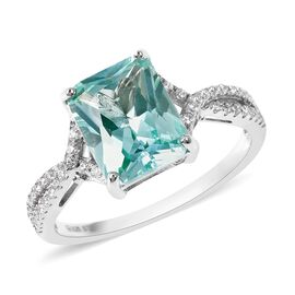 Lustro Stella Simulated Green Spinel and Simulated Diamond Solitaire Ring in Rhodium Plated Silver
