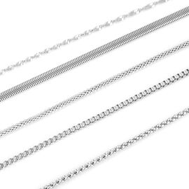 Set of 5 Stainless Steel Mesh, Box, Twisted Herringbone, Snake and Popcorn Chain Necklace (Size 20) in Silver Tone