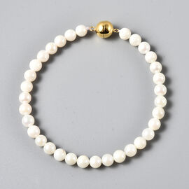 Japanese Akoya Pearl Necklace (Size - 18) with Magnetic Lock in Yellow Gold Overlay Sterling Silver