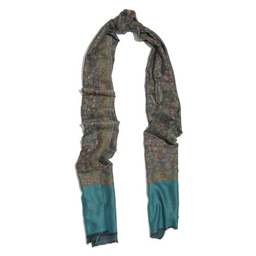 88% Merino Wool and 12% Silk Green, Black and Multi Colour Scarf with Fringes (Size 180x70 Cm)