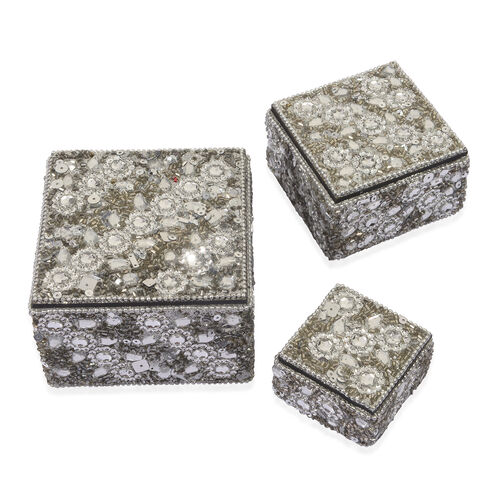 Set of 3 - Beads Embellished Silver Colour Square Shape Jewellery Box (Size 10X7, 8X5 and 5.5X3 Cm)