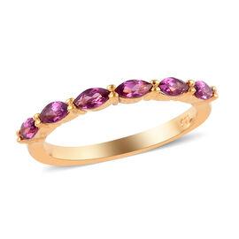 Rhodolite Garnet (Mrq) Six Stone Ring in 14K Gold Overlay Sterling Silver 0.60 Ct.