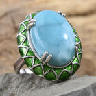 Larimar (Ovl 18x13 mm) Ring (Size N) in Platinum Overlay Sterling Silver 12.750 Ct, Silver wt 7.88 Gms