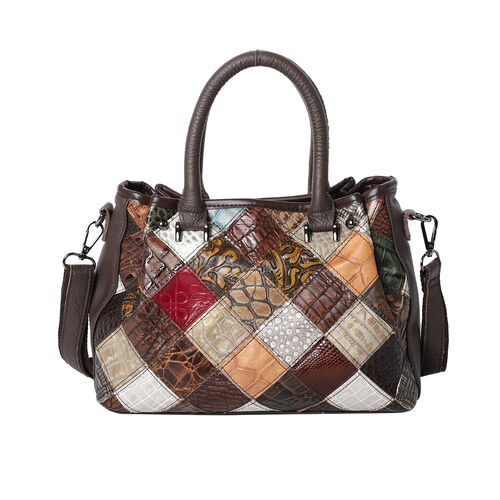 100% Genuine Leather Diamond Pattern Tote  with Detachable Shoulder Strap (Size 27x20x11cm) - Multi