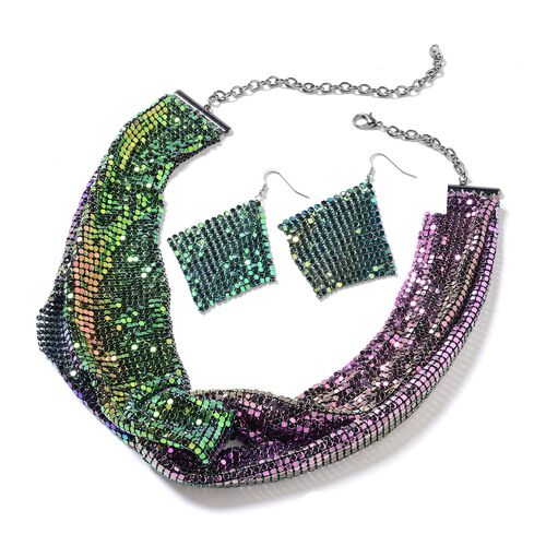 2 Piece Set - Retro Style Collar Necklace (Size 22) and Earrings in Rainbow Plating