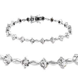 J Francis - Crystal from Swarovski White Crystal (Rnd) Bracelet (Size 7.5) in Silver Plated