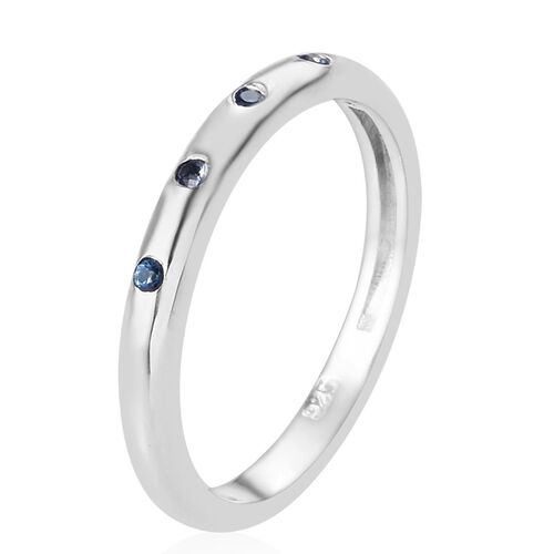 Royal Ceylon Sapphire Band Ring in Platinum Overlay Sterling Silver 0.10 Ct.