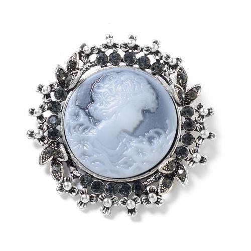 Grey Austrian Crystal (Rnd), Cameo Brooch in Silver Tone