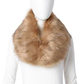 Khaki Colour Faux Fur Scarf (Size 90x14 Cm)