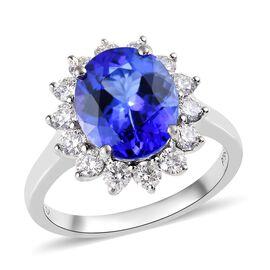 RHAPSODY 950 Platinum AAAA Tanzanite (Ovl 11x9 mm), Diamond (VS/E-F) Ring 4.75 Ct, Platinum wt 5.80