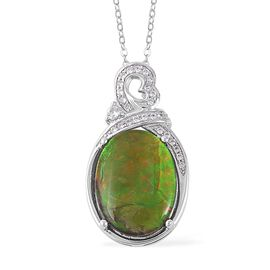 AA Canadian Ammolite (Ovl), Natural White Cambodian Zircon Pendant With Chain (Size 18) in Rhodium O