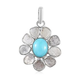 Artisan Crafted Arizona Sleeping Beauty Turquoise (Ovl 9x7mm), Polki Diamond Floral Pendant  in Plat