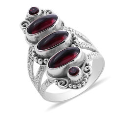 Sajen Silver - Mozambique Garnet Ring in Sterling Silver 6.03 Ct.