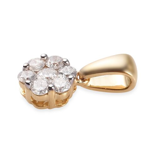 9K Yellow Gold SGL Certified Diamond (I2-I3/G-H) Pendant 0.50 Ct.