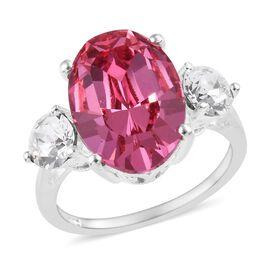 J Francis - Crystal from Swarovski Rose Colour Crystal (Ovl), White Colour Crystal Ring in Sterling