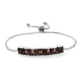 8 Carat Brazilian Smoky Quartz Friendship Adjustable Bracelet in Brass 9.5 Inch