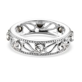 J Francis Crystal from Swarovski White Crystal Band Ring in Platinum Tone