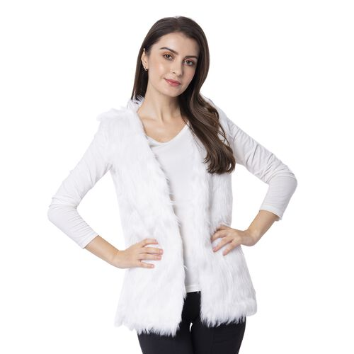 White Colour Faux Fur Gilet  (One Size Fits all)