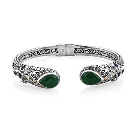 Royal Bali 2.31 Ct Green Jade and Mozambique Garnet with Multi Gemstones Cuff Bangle in 18K Gold and
