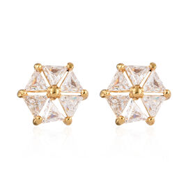 J Francis - 14K Gold Overlay Sterling Silver (Tri) Earrings (with Push Back) Made with SWAROVSKI ZIRCONIA