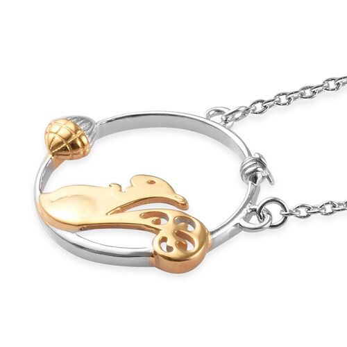 Platinum and Yellow Gold Overlay Sterling Silver Squirrel and Acorn Nut Necklace (Size 18)