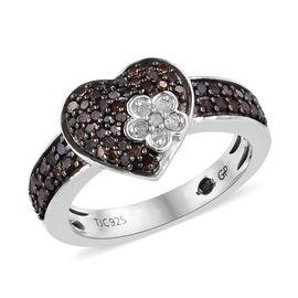 GP Red and White Diamond (Rnd), Kanchanaburi Blue Sapphire Ring in Black and Platinum Overlay Sterli