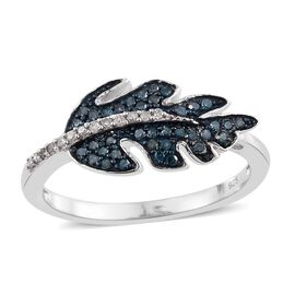 Blue Diamond (Rnd), White Diamond Leaf Design Ring in Platinum Overlay Sterling Silver 0.335 Ct.